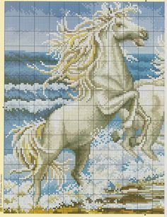 FREE GRAPHICS POINT CROSS: HORSES ~~ WHITE HORSES AT SEA  PG 1 OF 2