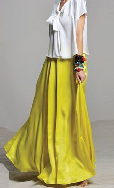 Lime maxi skirt. Love it with the top which looks ever so subtly light blue.