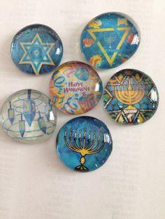 Hanukah glass magnets, Hanukkah magnets, Chanukah magnets on Etsy, $10.00