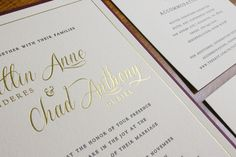Gorgeous #letterpress and #goldfoil details on this #rustic #wedding #invitation