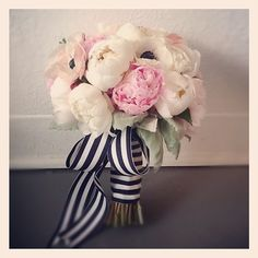The ribbon makes this peony bouquet extra special!