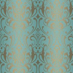 "York Wallcoverings Spa Blues 33' x 20.5"" Damask Roll Wallpaper & Reviews 