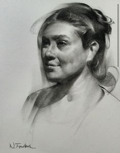 Nathan Fowkes Art w Portrait Au Crayon, L'art Du Portrait, Portrait Sketches, Pencil Portrait, Life Drawing, Figure Drawing, Drawing Sketches, Charcoal Portraits, Charcoal Art