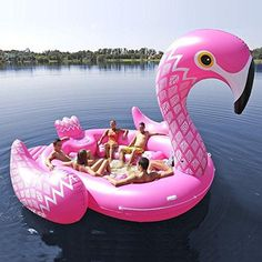 You are sure to be the life of the party in this huge pink flamingo floating island. Comfortably seats up to six adults while you float on the lake, ocean or even a pool if you can find one big enough. This awesome flamingo is over 10 feet long and 10 feet tall. The seats and backrest of this giant flamingo are wide a