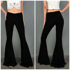 Basil Lola Black Velvet Flare Bell Bottoms Size small like new velvet flare leggings bell bottom pants. So soft and stretchy! Will fit 27/28 plus it's stretchy so it'll be very comfy. Just was washed once when I first got it and then closet stored. ❤️ hippie vibes with these velvet flare pant leggings LF Pants Boot Cut & Flare