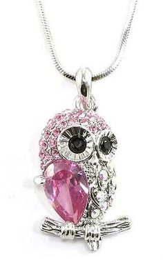 Pink Crystal Jeweled Small Owl on Branch Pendant Necklace Silver Tone
