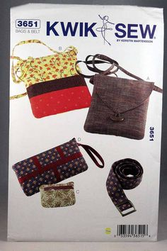Kwik Sew 3651, Bags, Coin Purse, Wristlet and Belts Sewing Pattern, New and Unopened by Allyssecondattic on Etsy