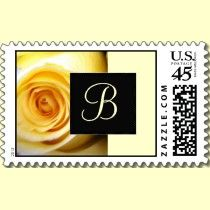 Yellow Rose Monogram Custom Postage Stamps.
