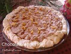 Chocolate Angel Pie by thebakingpan: This is a luscious chocolate pie with a meringue shell that is a bit chewy yet seems to melt in your mouth. You'll need to allow time to bake and chill the meringue shell before adding the chocolate filling. The result is a dessert that is incredibly delicious. (Gluten free!) #Chocolate_Pie #Gluten_Free