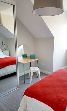 Residential - Bedroom - Show House Fit-Out - Full Length Mirror - Make Up Table - Tolix Stool - White - Blue - Turquoise - Attick Room - Bell Tree Showhouse, Clongriffin, Dublin by Think Contemporary