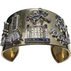 Applique Charm cuff 14 Karat Gold Platinum With charms    #VintageBeginsHere at www.rubylane.com @rubylanecom