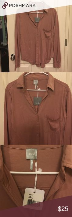 Bobi rose flannel like top New with tags - in brand new condition with no flaws! Size M, true to size. Made out of 100% cotton. Pretty rose pink color! Bobi Tops Button Down Shirts