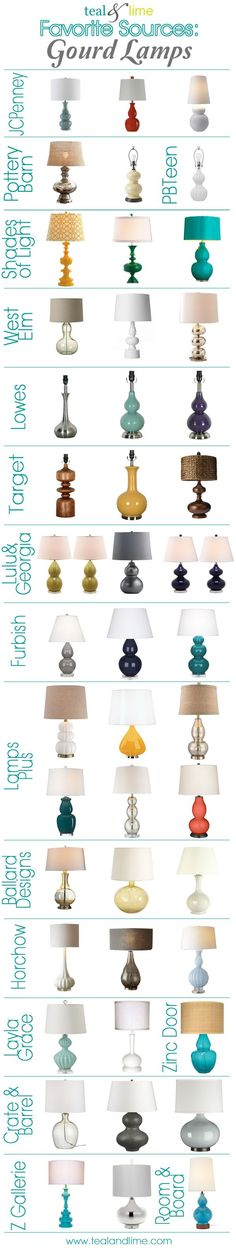 Sources for Gourd Lamps - These pieces are such a great way to make a colorful statement in any room. #lamp #decor #home