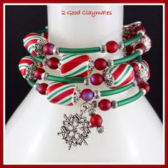 2 Good Claymates: Memory Wire Bracelet Tutorial with candy stripe beads