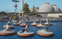 Disneyland Flying Saucers in Tomorrowland were basically a giant air-hockey table. The ride was only in operation from 1961 to However, a similar ride will be opening in Luigi's Flying Tires, part of the new Cars Land. Disneyland Tomorrowland, Disneyland Rides, Disneyland Photos, Disney Rides, Vintage Disneyland, Disneyland History, Disneyland Resort, Disneyland Secrets, Disney California Adventure