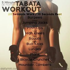 If you're looking for workout routines you can do from home, we've compiled 8 challenging tabata workout routines and have listed them below. These tabata workouts will burn off fats and calories and will give you a challenge that will leave you begging for mercy. photo credit
