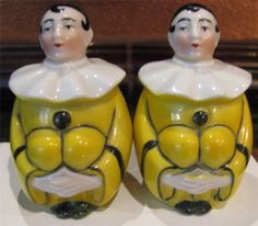 ANTIQUE GOEBEL YELLOW CLOWNS SALT AND PEPPER SHAKERS