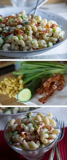 BACON & GREEN ONION PASTA SALAD - Erren's Kitchen #delicious #recipe #Nomnom #salad