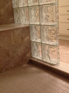 shower with bench seat | ... Down Glass Block Shower Wall to Work with a Bench Seat or Tub Deck