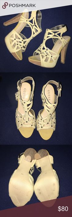 "Guess beige wood heel sandal Worn a few times. Size 5M. Adjustable straps. Guess. No box. 4.5"" heels. 1/2"" platform. Super comfortable (j) Guess Shoes Heels"