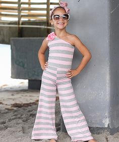 Look at this Mia Belle Baby Pink & Gray Stripe Becky Jumpsuit - Toddler & Girls on #zulily today!