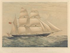 """Clipper barque """"Spirit of the Age"""", 1854 - National Maritime Museum"""