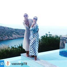 Vasiliki Vergi & Hatzigeorgiou Maria wearing summer beach dresses by Elena Chalati @hatzigeorgioum