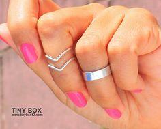 3 chevron sobre anillo de nudillos nudillo brazalete Midi