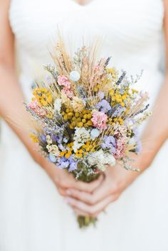 craspedia, dried wheat and wildflower bouquet