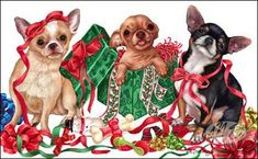 """New for 2009!Quantities Limited! Chihuahua Christmas Cards are 8 1/2"""" x 5 1/2"""" and come in packages of 12 cards. One design per package. All designs include envelopes, your personal message, and choice of greeting.Select the greeting of your choice from the drop-down menu above.Add your personal message to the Comments box during checkout."""