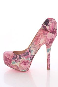 Floral Leather Closed Toe Bow Back Platform Pump Heels
