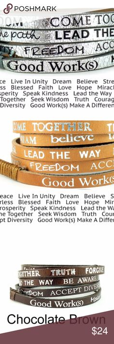 GoodWorks Makes a Difference Wrap Bracelet This chic, fashionable leather wrap around bracelet is the perfect accessory for the girl on the go. A constant reminder of faith, kindness and positive thinking.  Words on this bracelet are: Make a Difference, Plant Peace, Live in Unity, Freedom, Accept Diversity, Speak Kindness, Pave the Path, Lead the Way, Be Aware, Give Back, Seek Wisdom, Come Together, Truth, Forgive, Strength, Courage, Dream, Believe, Faith, Sow Love  Material: Leather, Metal…