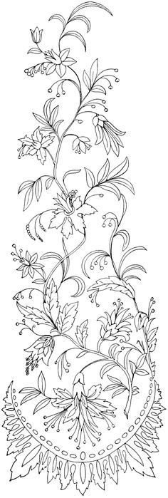 Free Printable Designs | This lovely vintage embroidery pattern of swirly flowers and leaves is ... #VintageEmbroideryPatterns