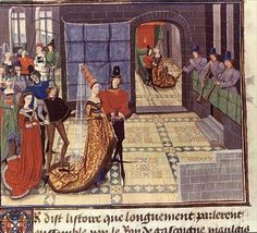 While musicians playa chivaree outside their bedroom, the newly married noble couple  sits on a bed surmounted by an oval conception-time mirror. (French, 1468-70. Histoire de  Reynaud de Montauban. Paris: Bibliotheque de I'Arsenal MS 5073)