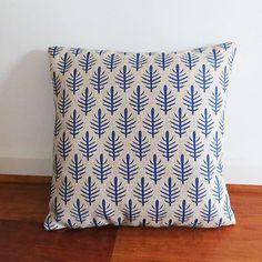 Blue Fern Leaf Geometric Design Scatter Throw Cushion Cover 45cm x 45cm Vintage