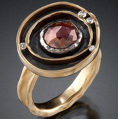 18k yellow gold, oxidized silver, chocolate diamond, white diamonds by Ann Marie Cianciolo