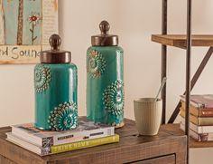 Vases & Jars, Turquoise Mehndi Stoneware LIdded Jars ★ Creative Co-Op Home