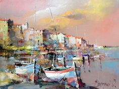Branko Dimitrijevic, Boats, Oil on canvas, 30x40cm