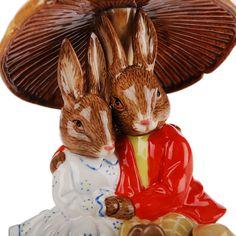 royal doulton figurines bunnykins | Royal Doulton Hand Painted Fine Bone China Pair of Bunnykins Cuddling ...