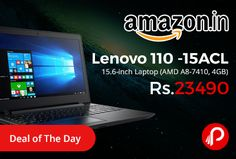 Amazon #LightningDeal is offering 8% off on Lenovo 110 -15ACL 15.6 inch Laptop (AMD A8-7410, 4GB) Just at Rs.23490. 2.5GHz AMD A8-7410 processor, 4GB DDR3L RAM, 1TB 5400rpm Serial ATA hard drive, 15.6-inch screen, Integrated Graphics, Windows 10 Home operating system, 2.2kg laptop, Latest AMD Carrizo-L processor.   http://www.paisebachaoindia.com/lenovo-110-15acl-15-6-inch-laptop-amd-a8-7410-4gb-just-at-rs-23490-amazon/