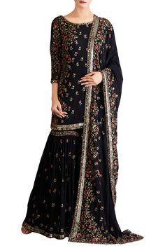Black chiffon mukaish sharara set by Nakul Sen - Shop at Aza Pakistani Couture, Pakistani Bridal Dresses, Pakistani Outfits, Indian Dresses, Gharara Designs, Kurti Designs Party Wear, India Fashion, Suit Fashion, Fashion Dresses