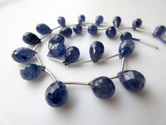 Natural Blue Sapphire Faceted Tear Drop Briolette Beads, 9mm To 12mm Beads, 12 Pieces, GDS406 by GemsDiamondsBySHIKHA on Etsy