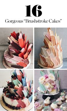 Consider asking your caterer for one before they become the next naked cakes. Here's a mesmerizing sampling of brushstroke cakes.