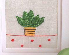 pot plant hand embroidered artwork by liz padgham-major | notonthehighstreet.com