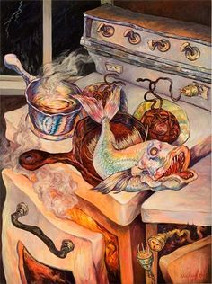 Out of the Frying Pan, 2007 Oil on canvas, 1020 by Sylvia Siddell Artist Painting, Painting & Drawing, Gouche Painting, Food Sculpture, New Zealand Art, Nz Art, Maori Art, Art Corner, Arte Horror