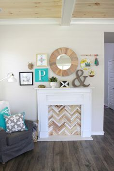 DIY Faux Fireplace and Mantel Decor