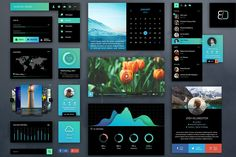 This UI kit was created in Photoshop using vector quality elements. It is optimized for use in Retina mockups. The kit contains a variety of Navigational Simple Web Design, Creative Design, Free Design, Ui Kit, Layout Design, Ui Design, Design Trends, Print Design, Photoshop