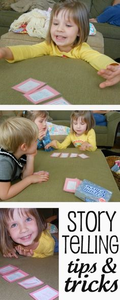 using story telling cards: kids make cards of character, setting, problem, object; remind them of having a beginning, middle, and end; let them pick 4 cards and tell a story. Mount each of four categories on different color background. Store in jello box.