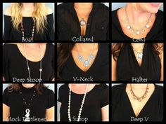 Necklace to Wear With V-neck Dress A good dress is incomplete without suitable jewelry to make you look perfect. The jewelry should be in accordance with the dress you are wearing. The jewelry should . Neckline Guide, Necklace For Neckline, Grace Adele, Fashion Outfits, Womens Fashion, Fashion Tips, V Neck Dress, Fashion Necklace, Fashion Jewelry
