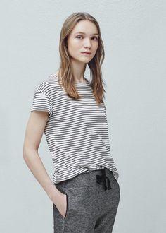 Gestreept katoenen t-shirt - T-shirts voor Dames | MANGO Nederland